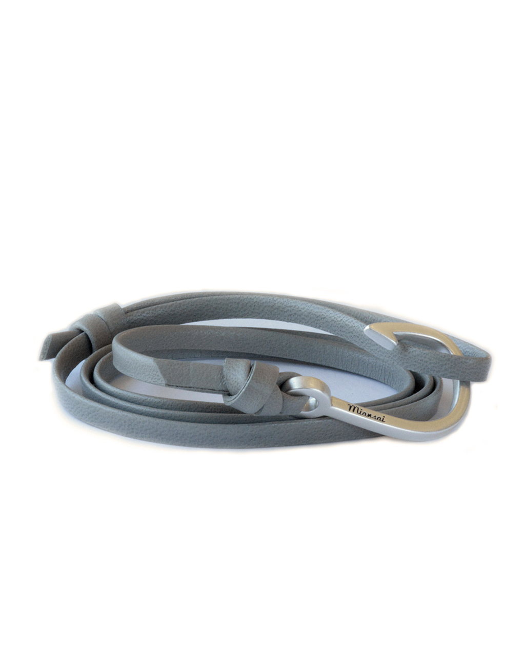 Miansai silver fish hook and grey leather wrap bracelet in for Leather fish hook bracelet
