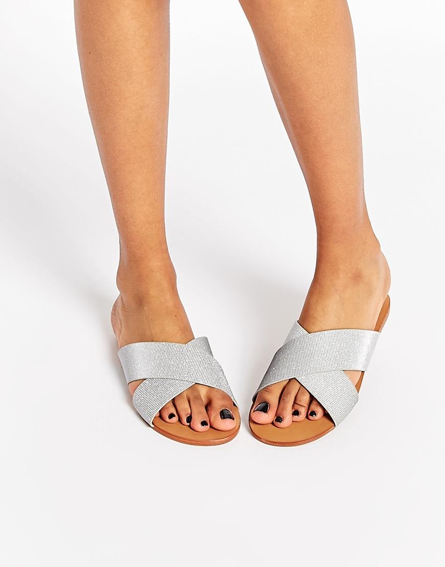 Unique Womens Summer Sandals Shoes Stud Cross Stone T Strap Flat Grayish Navy