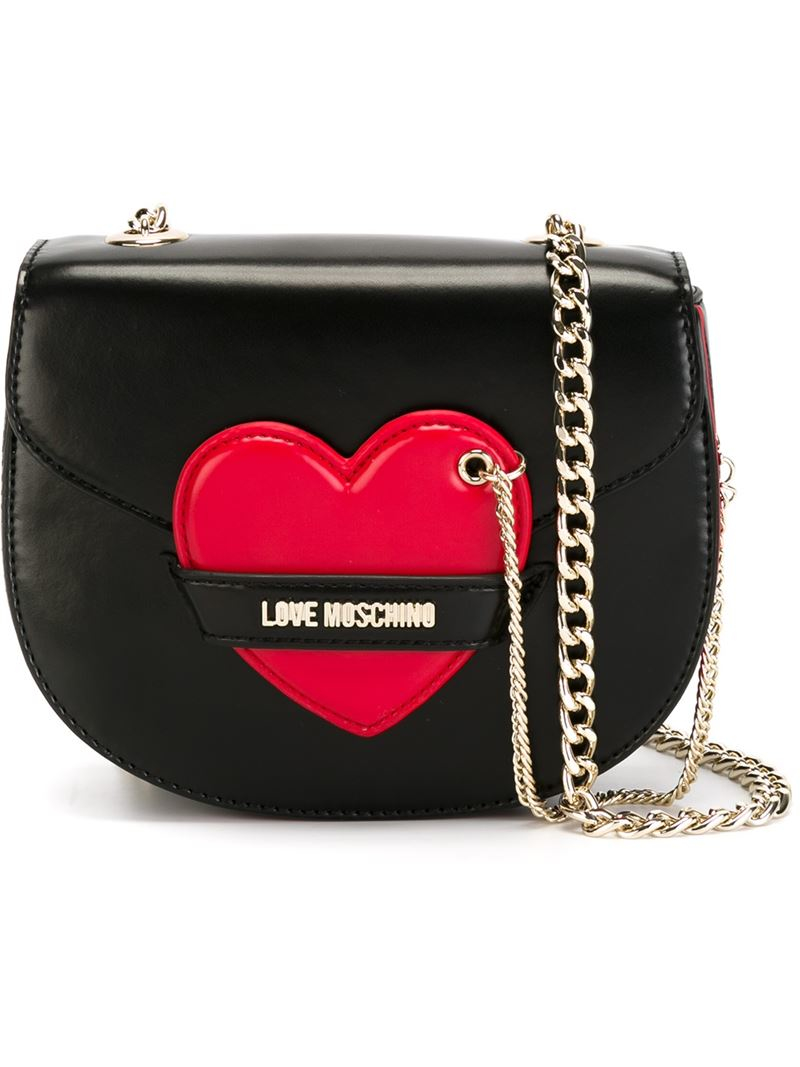 love moschino heart detail shoulder bag in black lyst. Black Bedroom Furniture Sets. Home Design Ideas