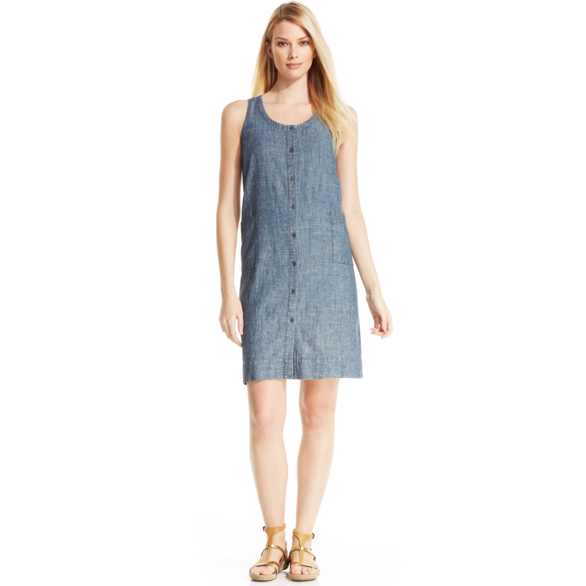 Eileen fisher sleeveless buttonfront chambray dress in for Chambray dress