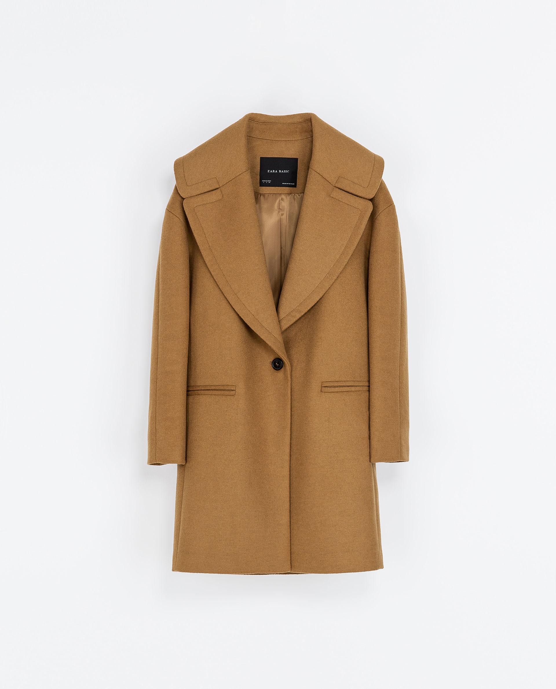 Zara Coat with Large Lapel in Beige (Camel)