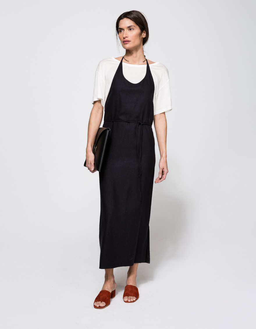 29e18085c0a Lyst - Baserange Apron Dress In Black