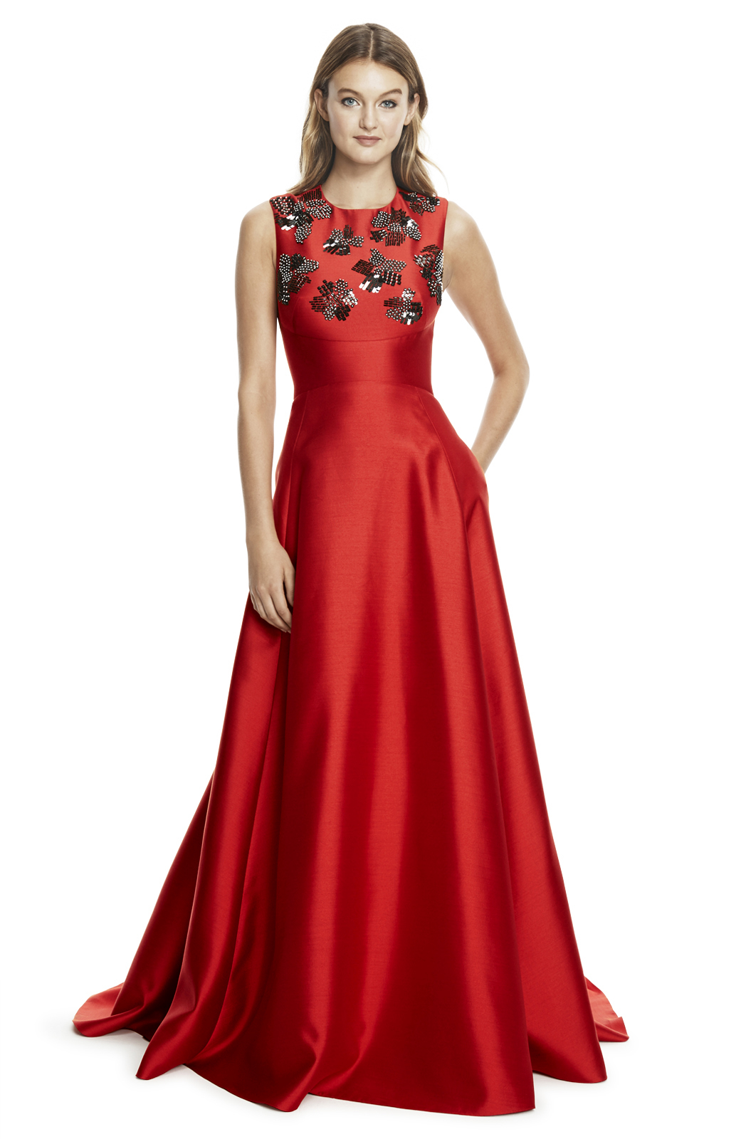 Lela rose Silk And Wool Embroidered Gown in Red