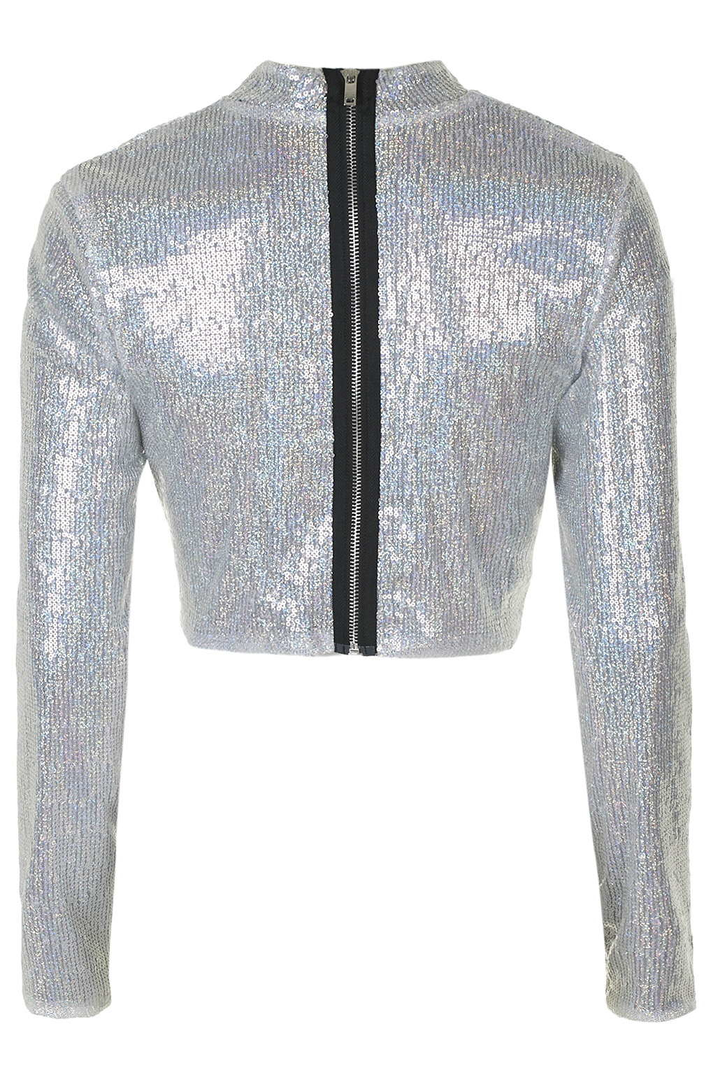 topshop silver sequin long sleeve crop top by jaded london in metallic lyst. Black Bedroom Furniture Sets. Home Design Ideas