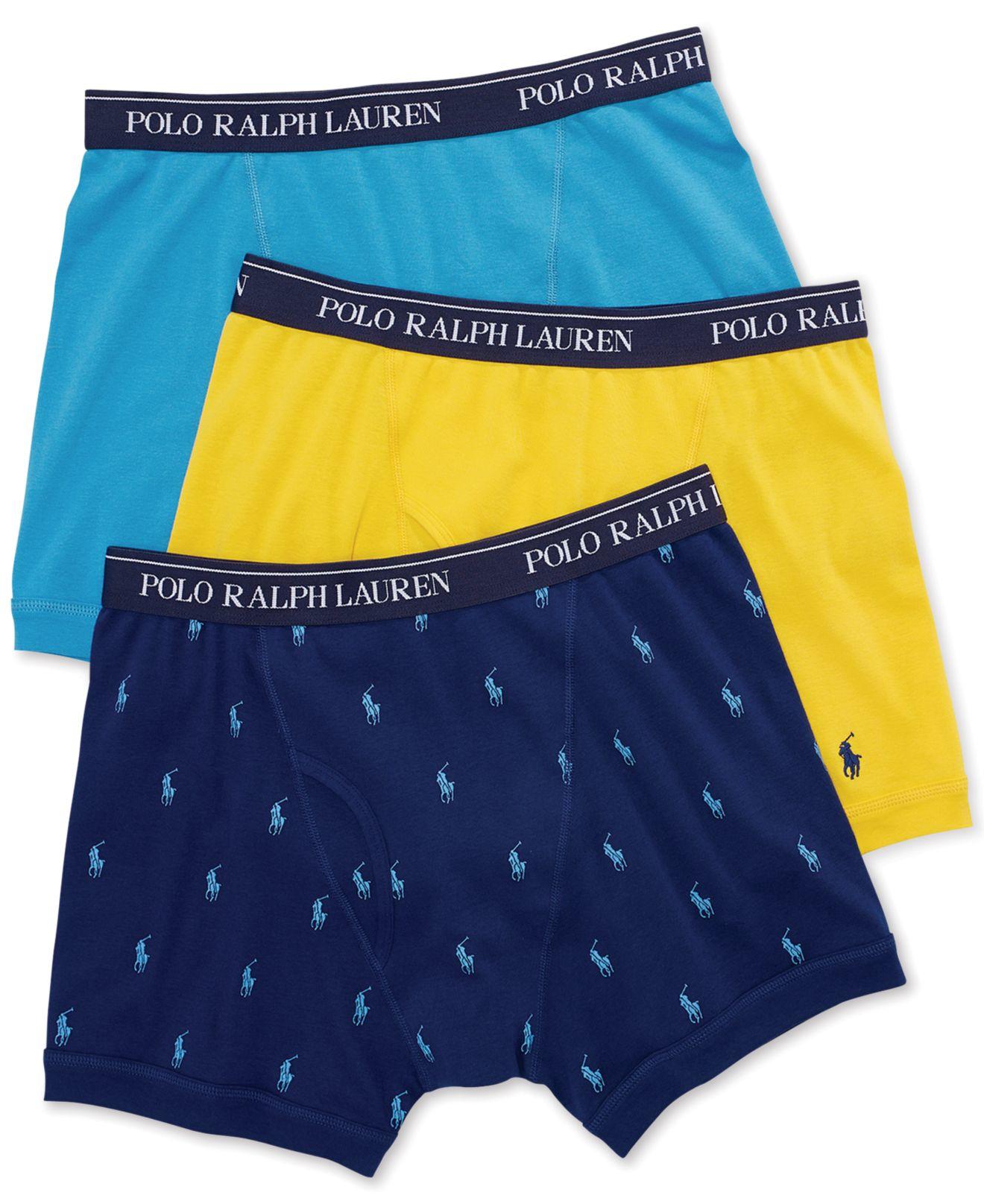 polo ralph lauren three pack cotton boxer briefs in blue