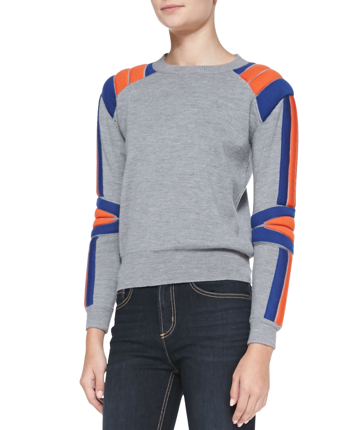 marc by marc jacobs grady wool crewneck sweater in gray lyst. Black Bedroom Furniture Sets. Home Design Ideas