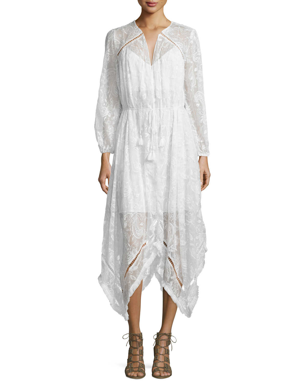 Zimmermann hanna embroidered dress with fringe trim in
