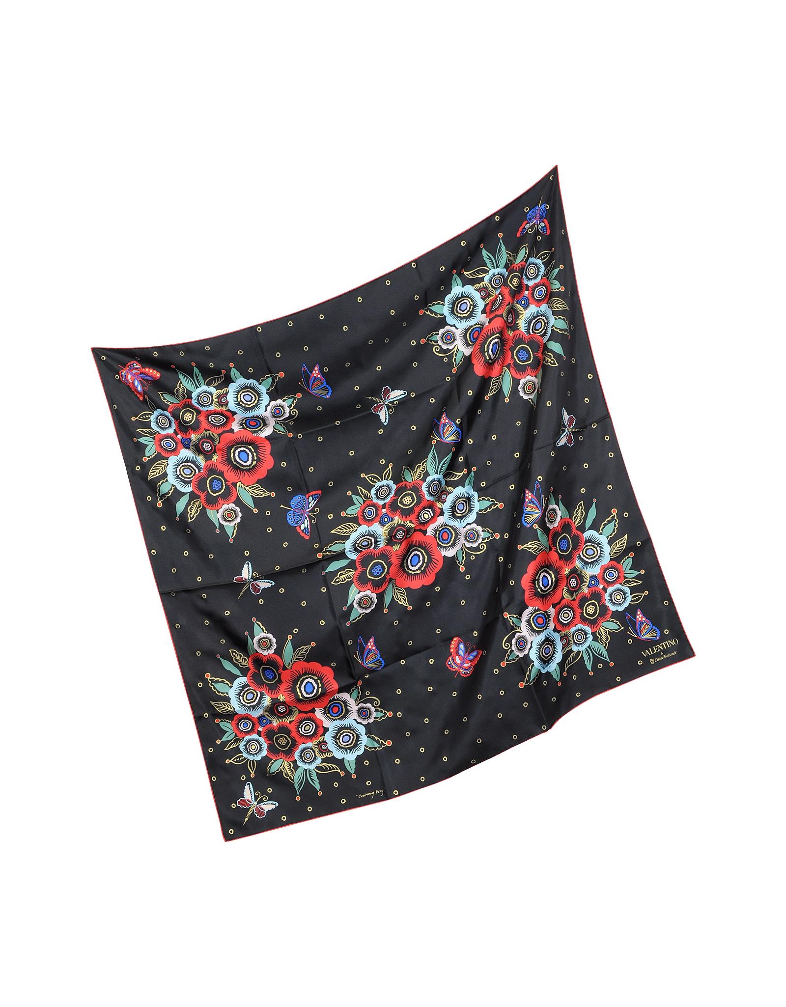 valentino multicolor century posy print silk square scarf
