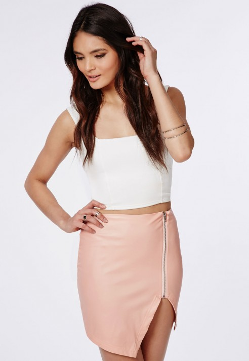 Missguided Faux Leather Asymmetric Zip Detail Mini Skirt Dusky ...