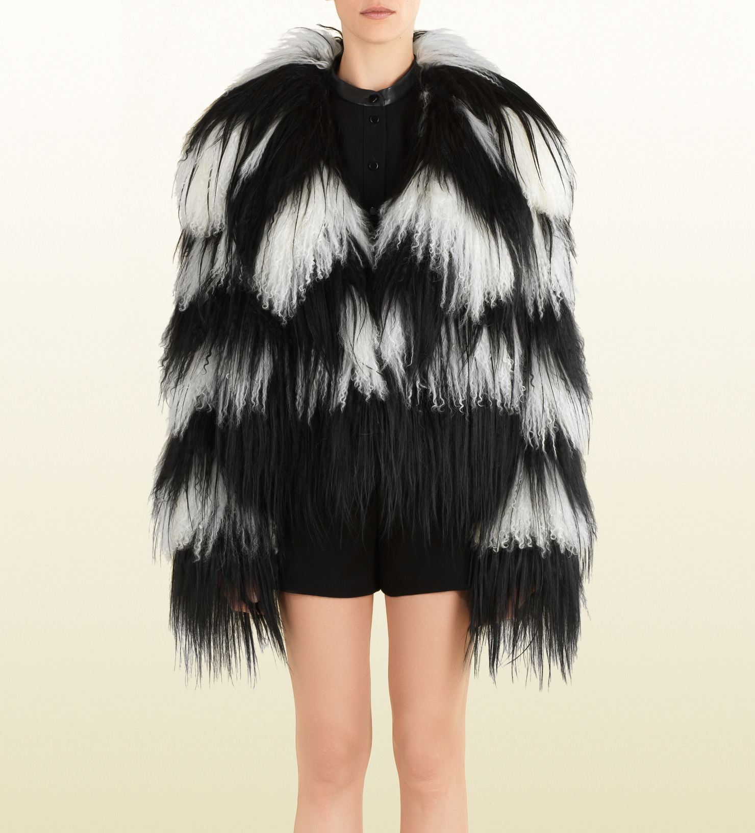 Gucci Black and White Striped Fur Jacket in Black | Lyst