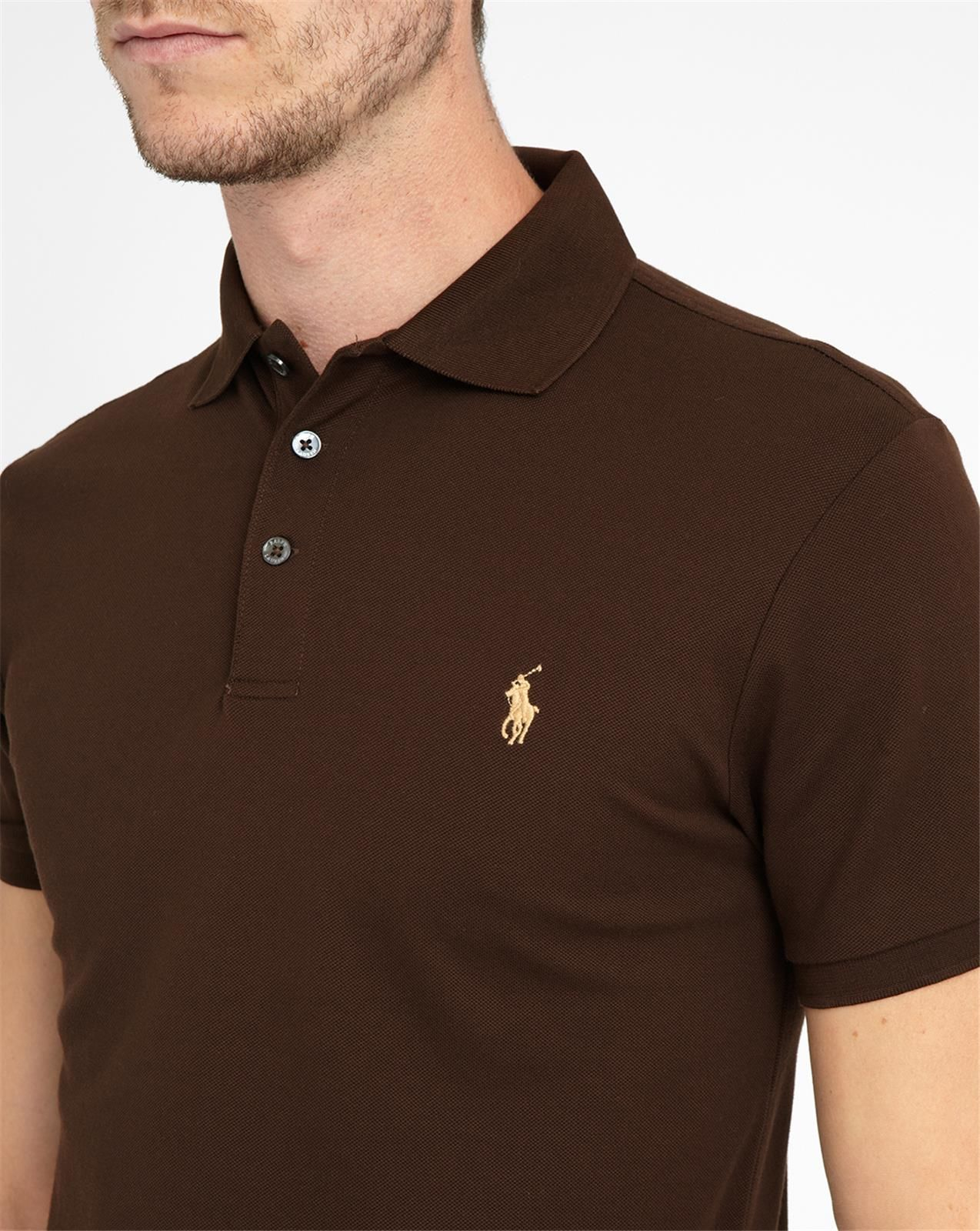 Polo ralph lauren chocolate stretch polo shirt in brown for Black brown mens shirts