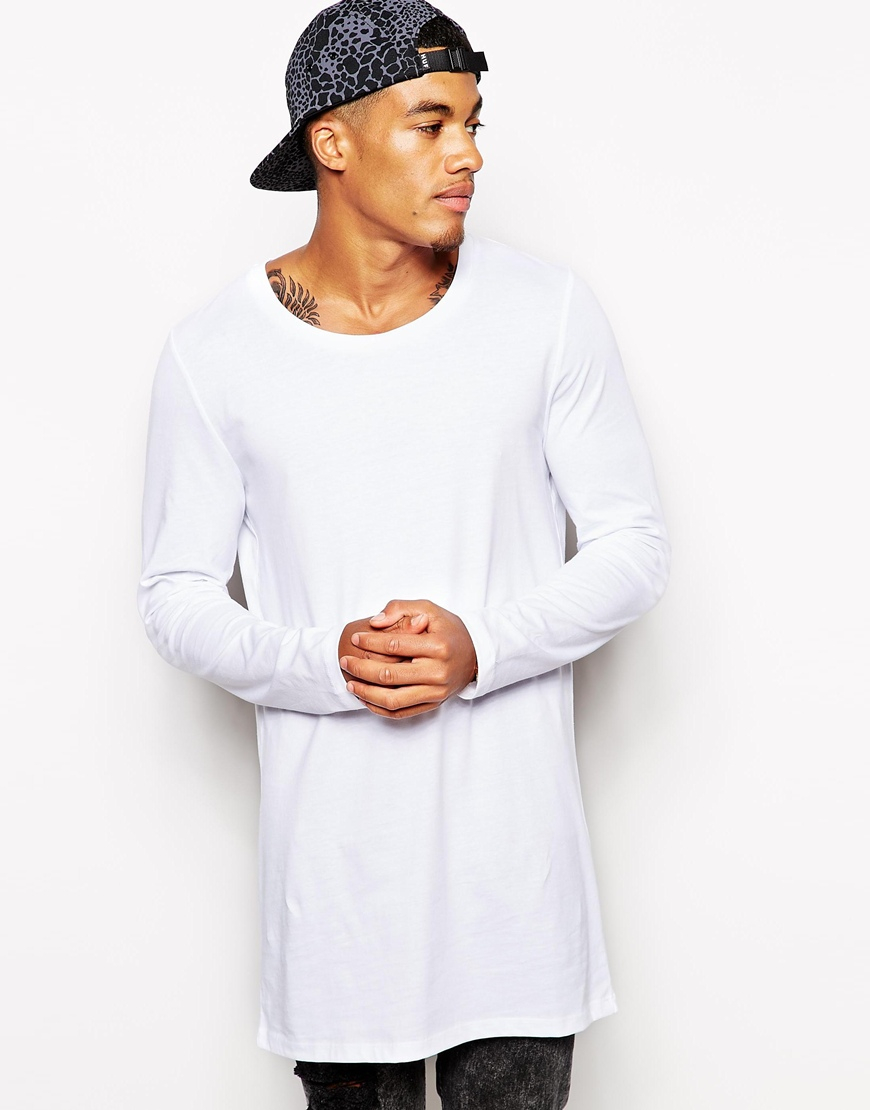 Lyst asos long sleeve t shirt with scoop neck in super Mens long sleeve white t shirt