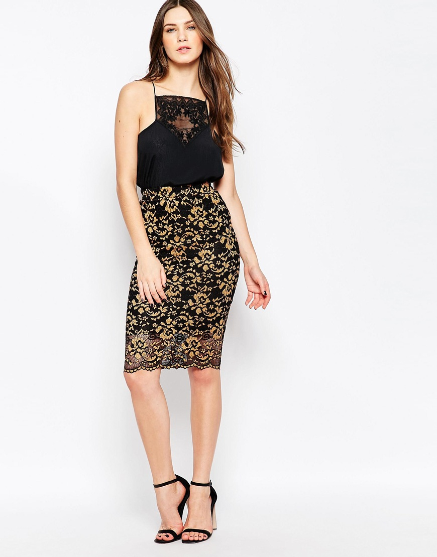 Ganni Christy Lace Midi Skirt In Black And Gold in Metallic | Lyst