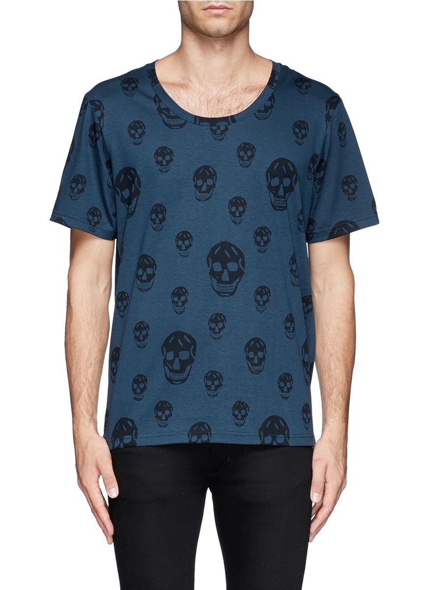 Lyst alexander mcqueen skull pattern t shirt in blue for men for Alexander mcqueen shirt men