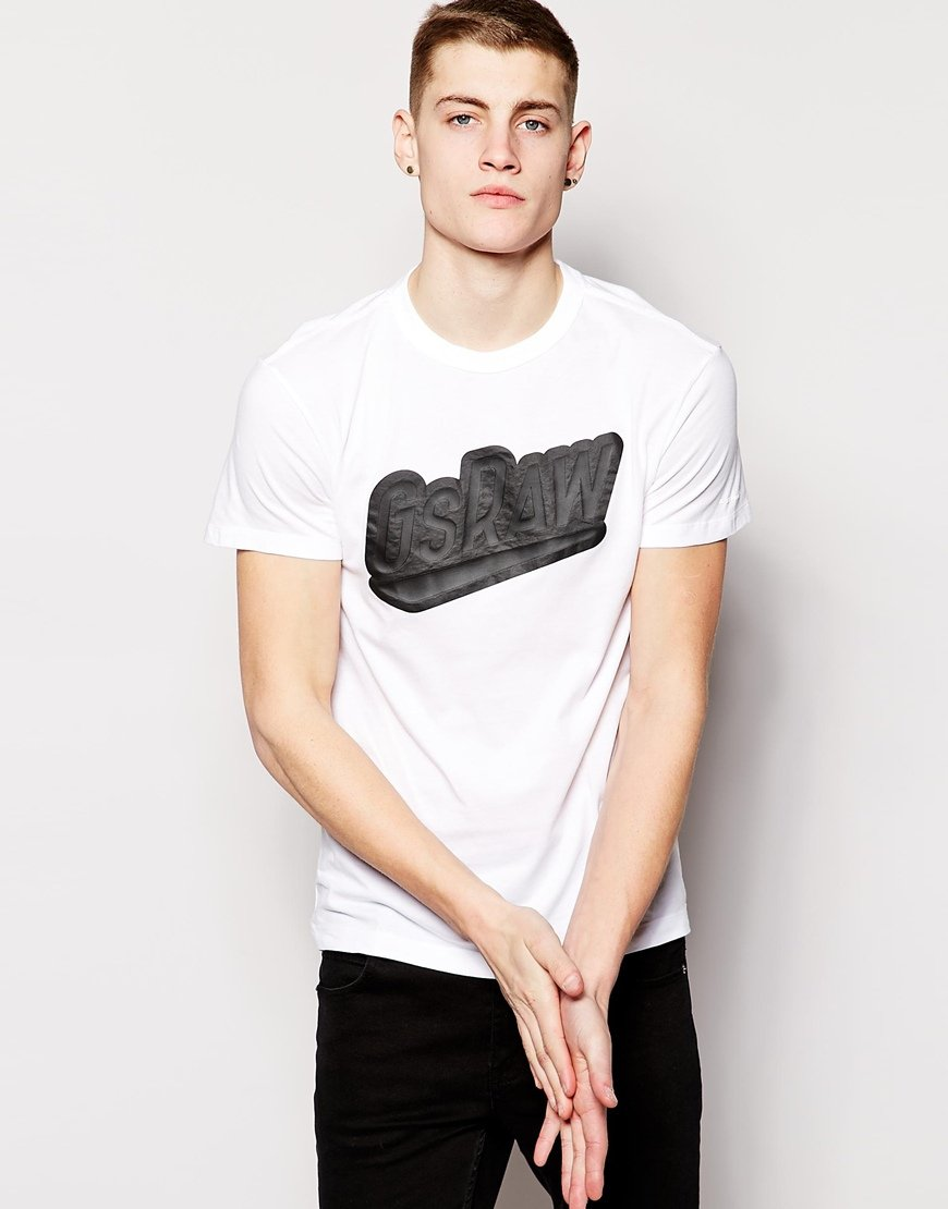 star raw g star t shirt large logo in white for men lyst. Black Bedroom Furniture Sets. Home Design Ideas