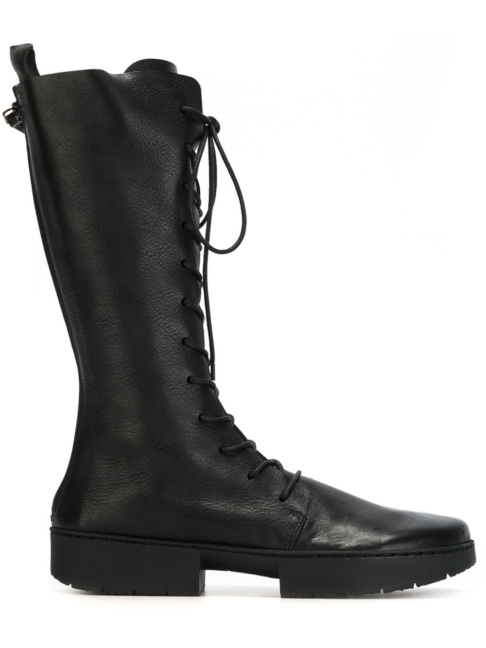trippen knee high lace up boots in black lyst