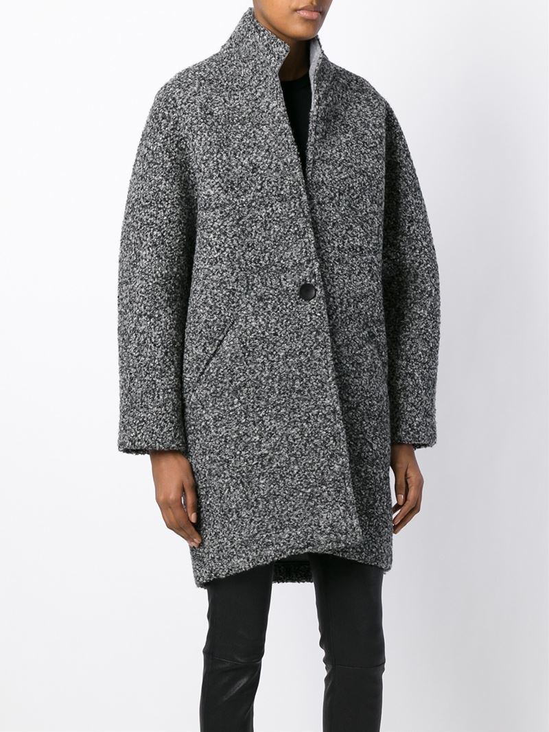Isabel marant Daryl Button-Up Coat in Gray | Lyst