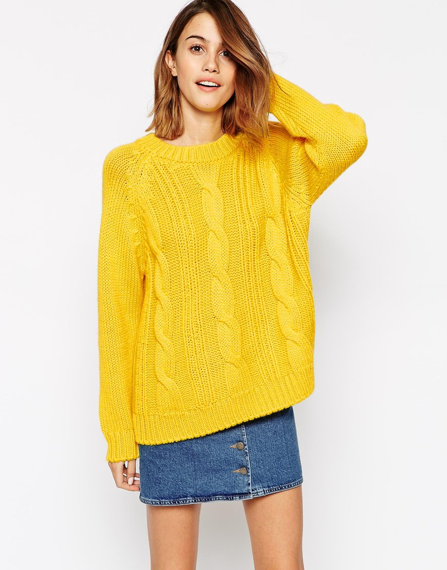 Ganni Long Sleeve Cable Knit Sweater In Yellow Lyst