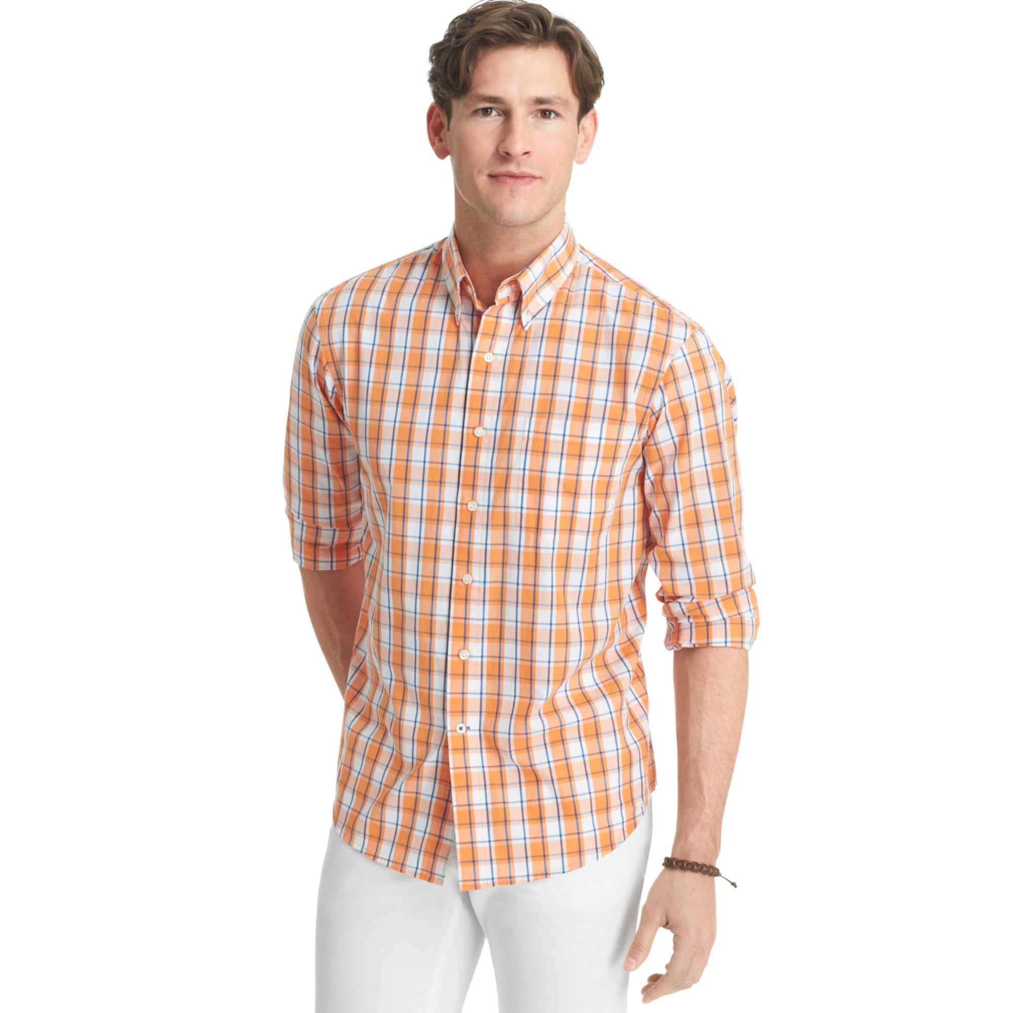 Izod lightweight poplin plaid shirt in orange for men for Lightweight plaid shirt womens