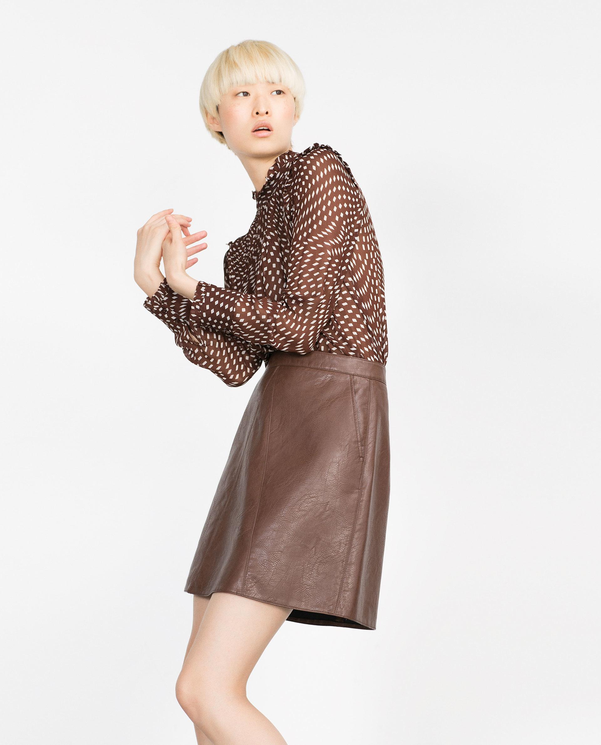 zara a line skirt in brown lyst