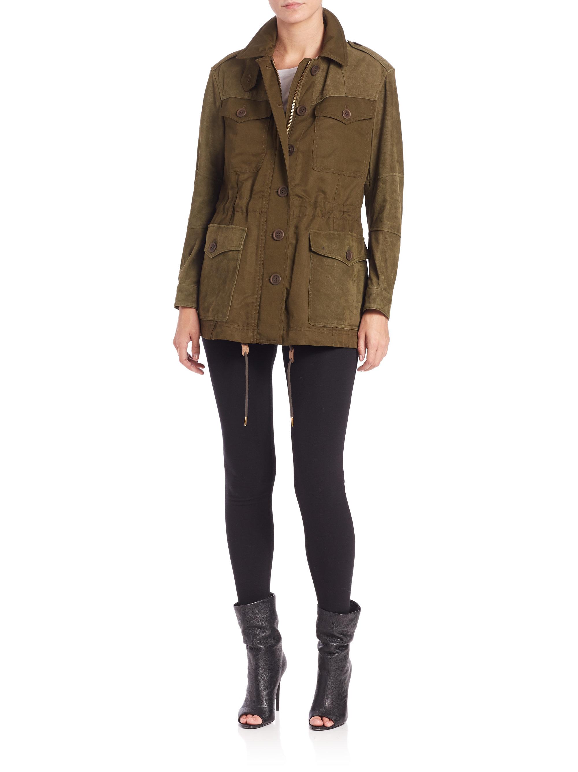 burberry brit spearsdale leather trimmed jacket in brown lyst. Black Bedroom Furniture Sets. Home Design Ideas