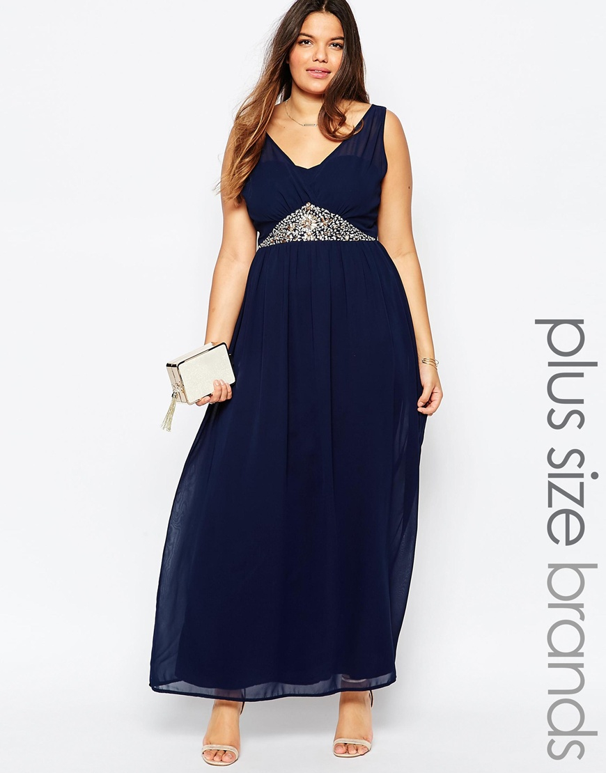 Club L Plus Size Maxi Dress With Embellished Waist in Blue - Lyst