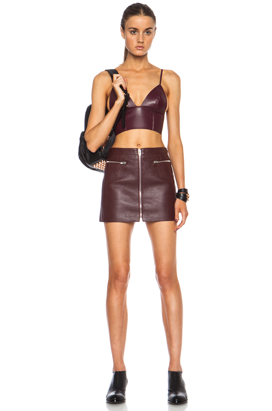 372c1afe5daf0 Lyst - T By Alexander Wang Bonded Nappa Raw Edge Triangle Bralette ...