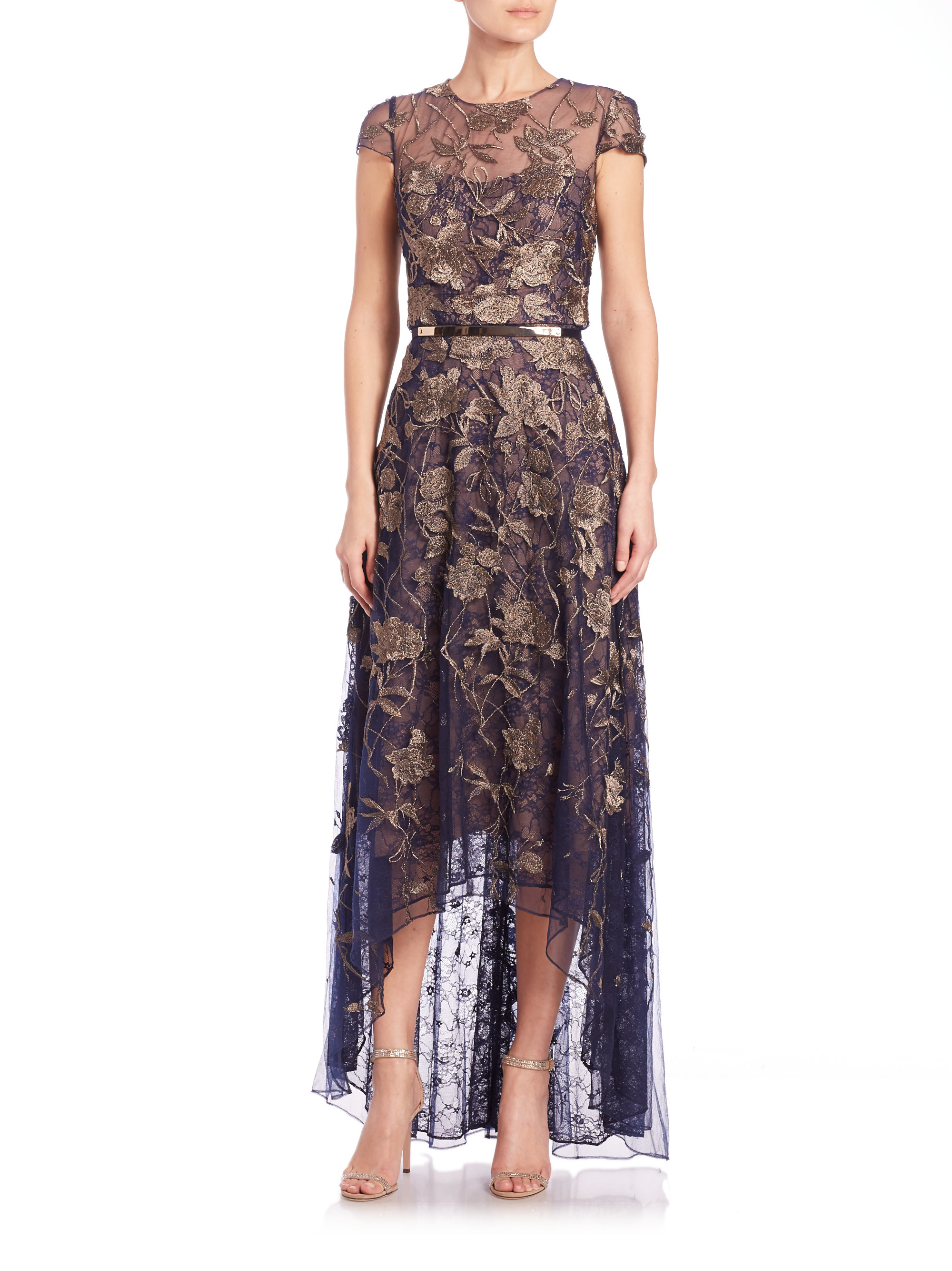 1916b644207 Marchesa notte Embroidered Tulle Gown in Metallic - Lyst