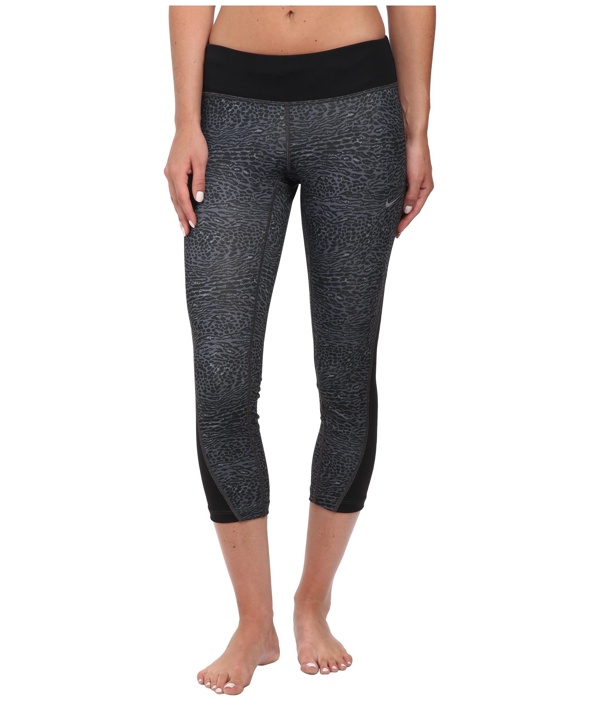Nike Womens Dri-FIT? Racer Leopard Print Crop Black/Black/Reflective Silver - Pants