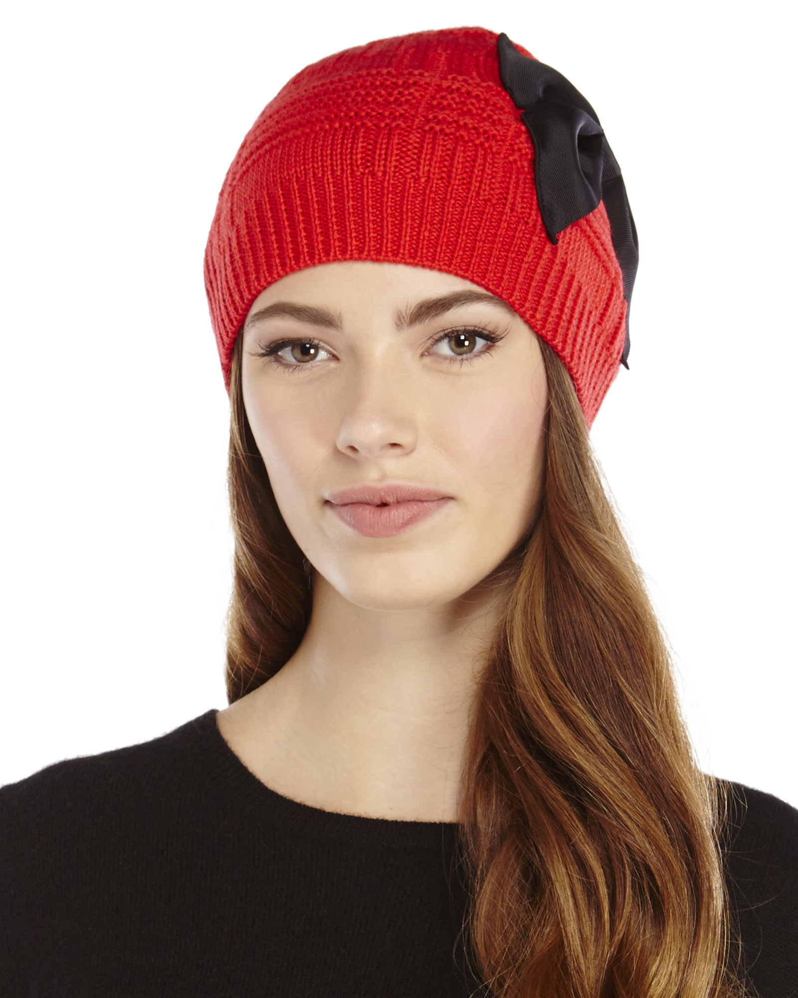 5849082d039 Lyst - Kate Spade Plaid Stitch Bow Beanie in Red
