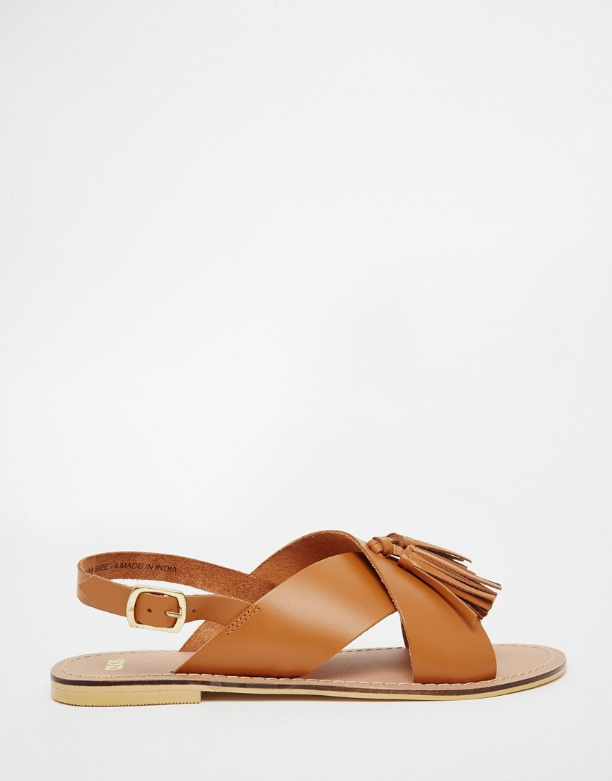 9c30d02a0eb5 Lyst - ASOS Foxtrot Leather Tassel Sandals in Brown