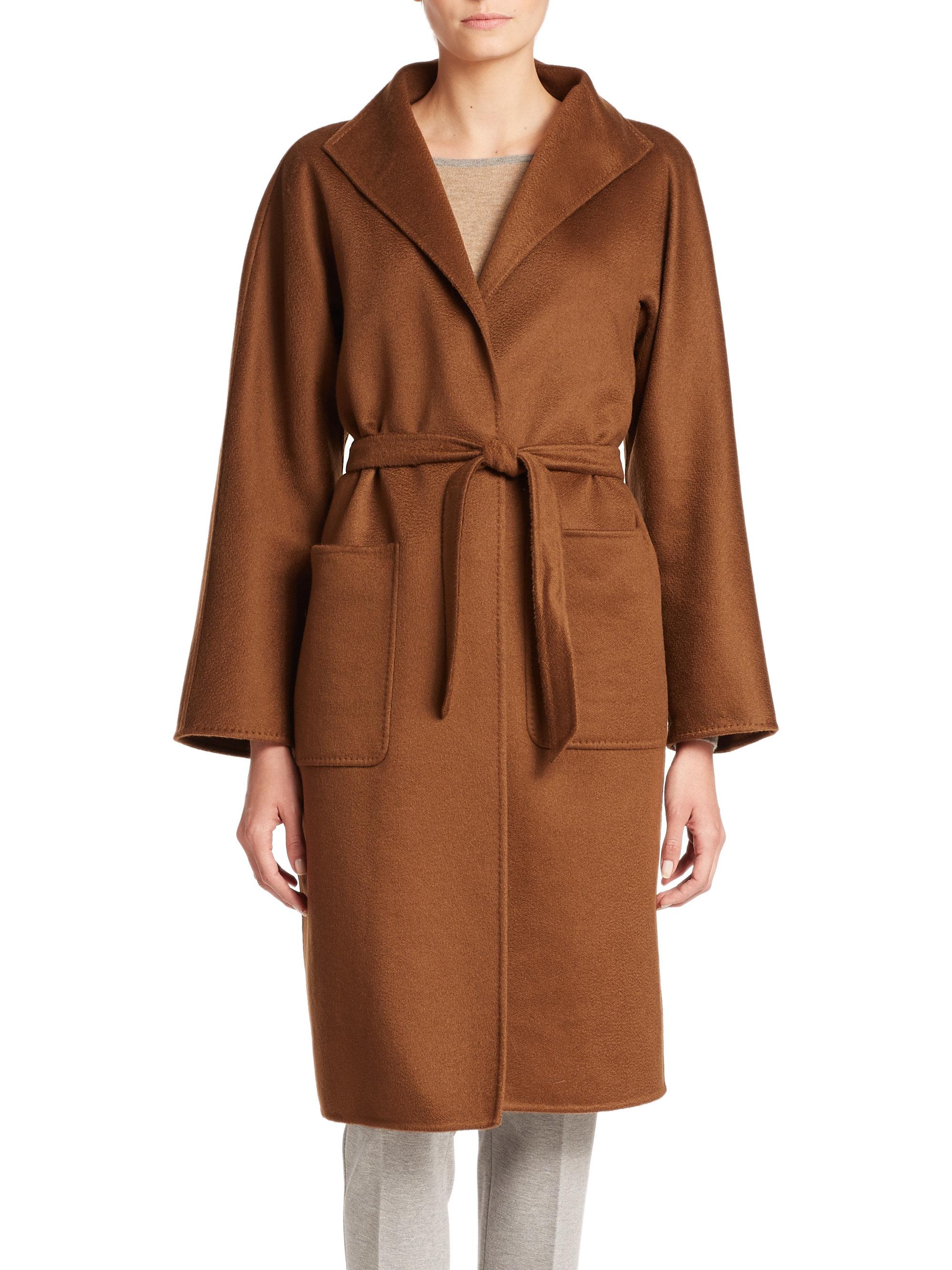 max mara lilia cashmere wrap coat in brown tobacco lyst. Black Bedroom Furniture Sets. Home Design Ideas