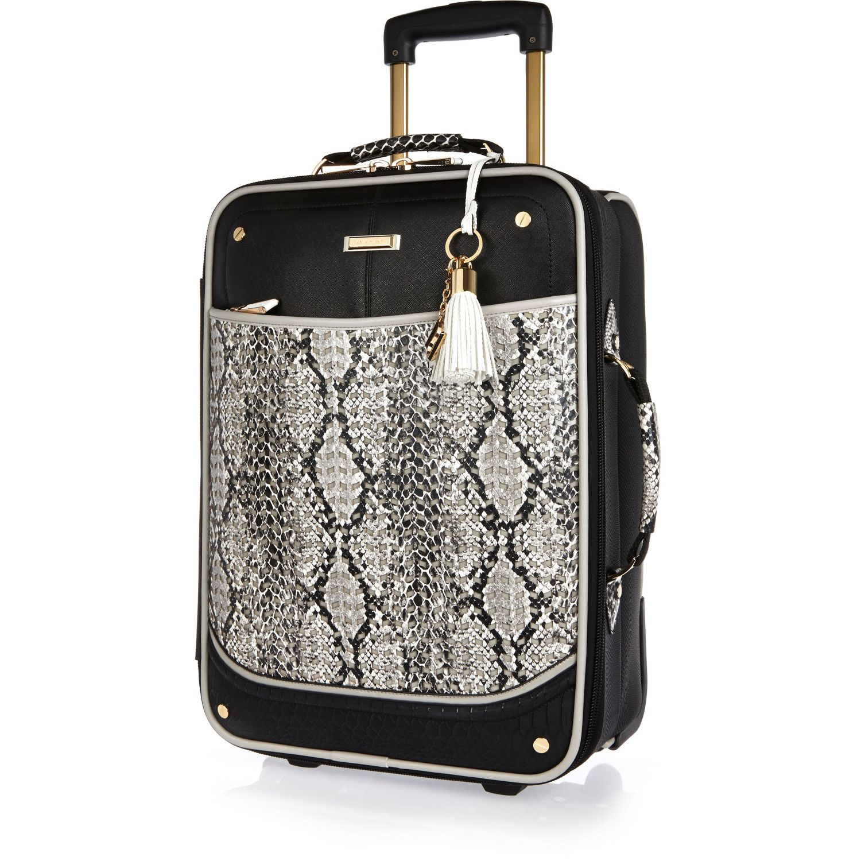 1001109bb9 River Island Black Snake Print Laser Cut Suitcase in Black - Lyst