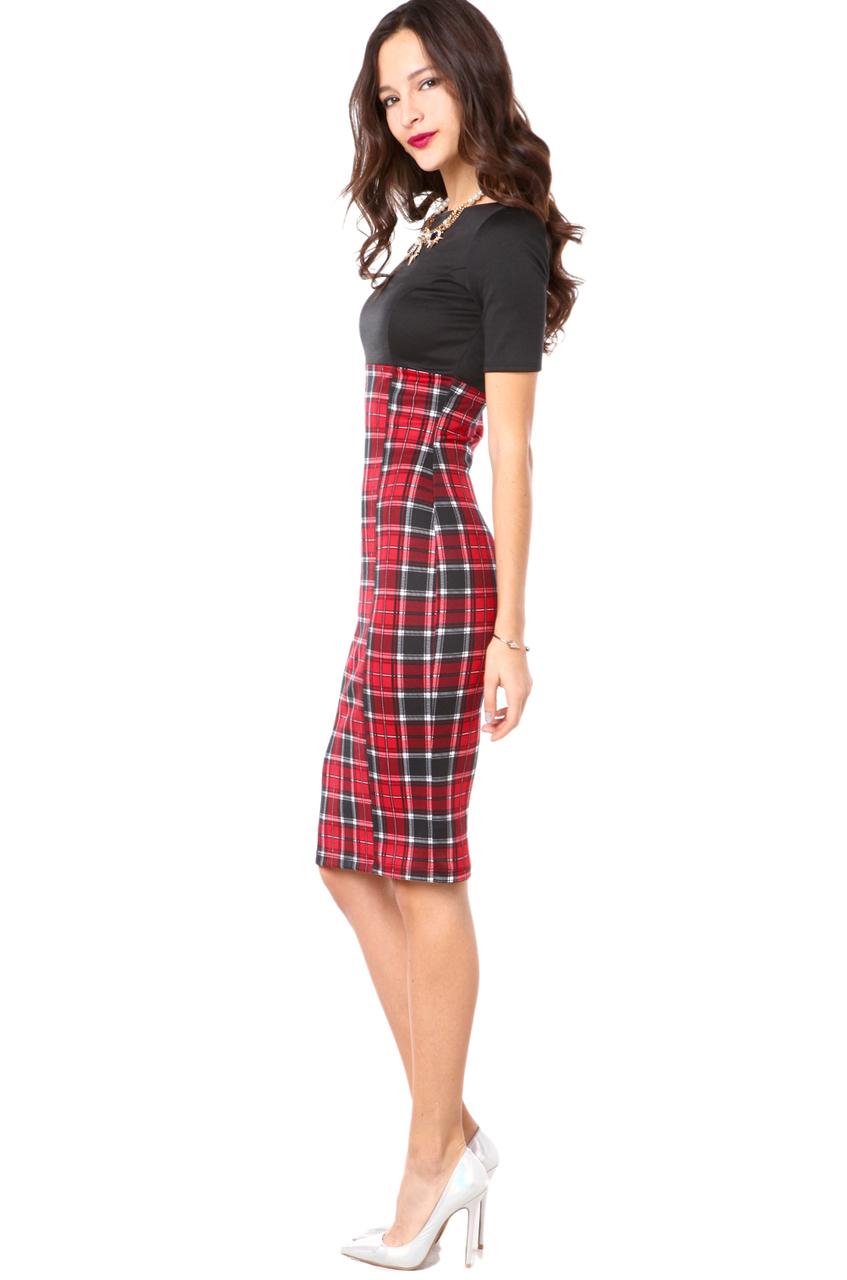 Lyst Akira Plaid Skirt Combo Dress In Black