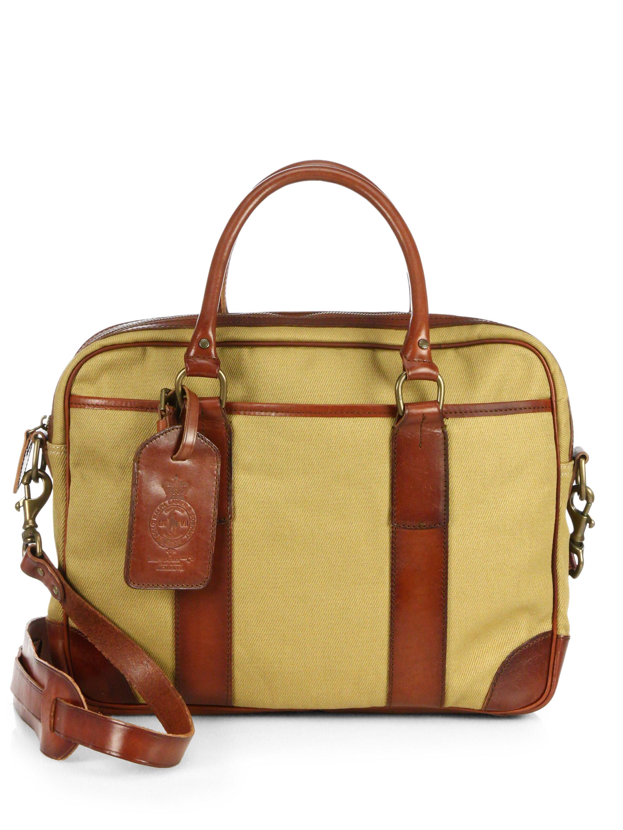 f17e9896f8 Lyst - Polo Ralph Lauren Soft Waxed Twill Canvas Briefcase in ...