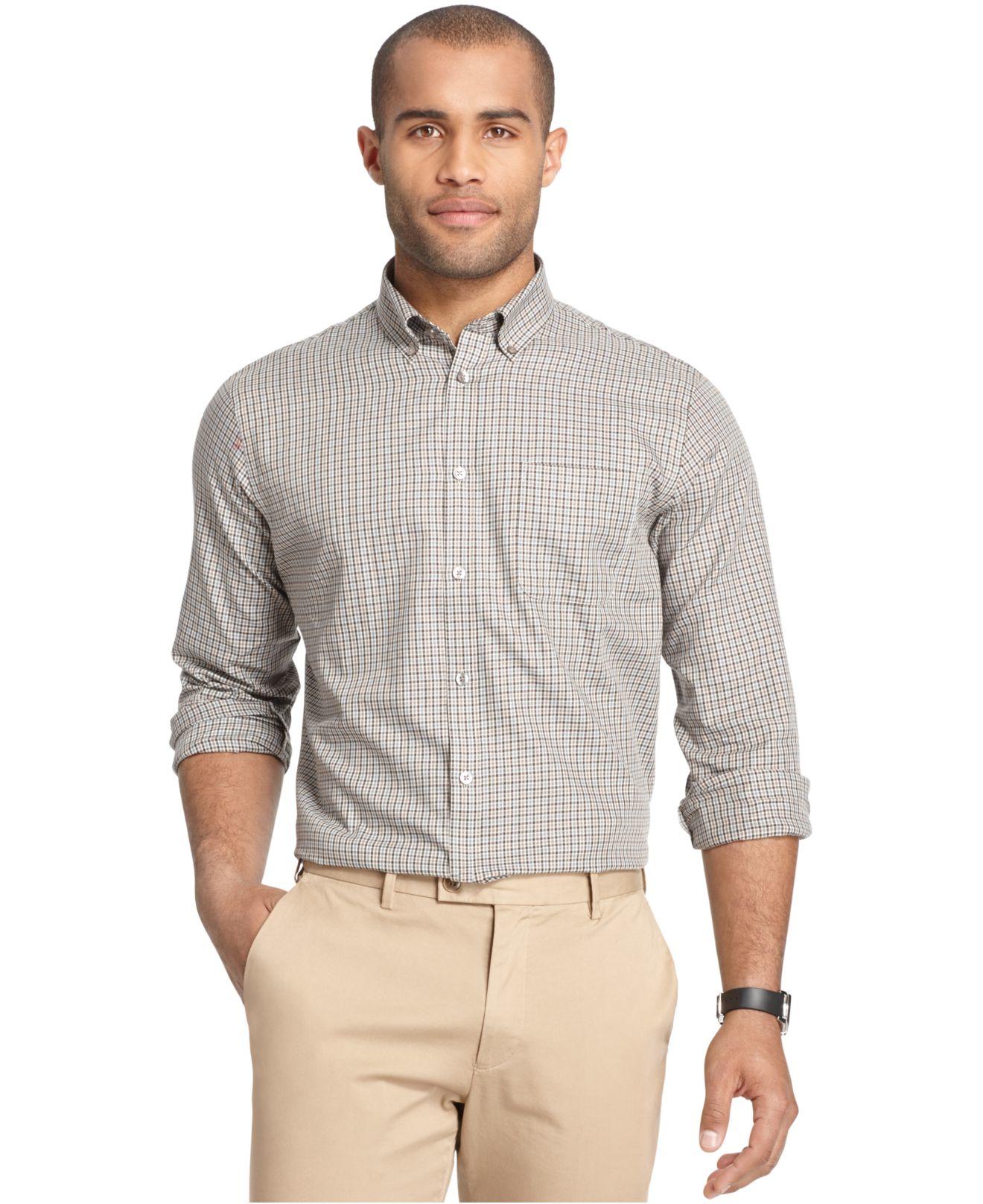 Lyst van heusen long sleeve plaid shirt in gray for men for Van heusen plaid shirts