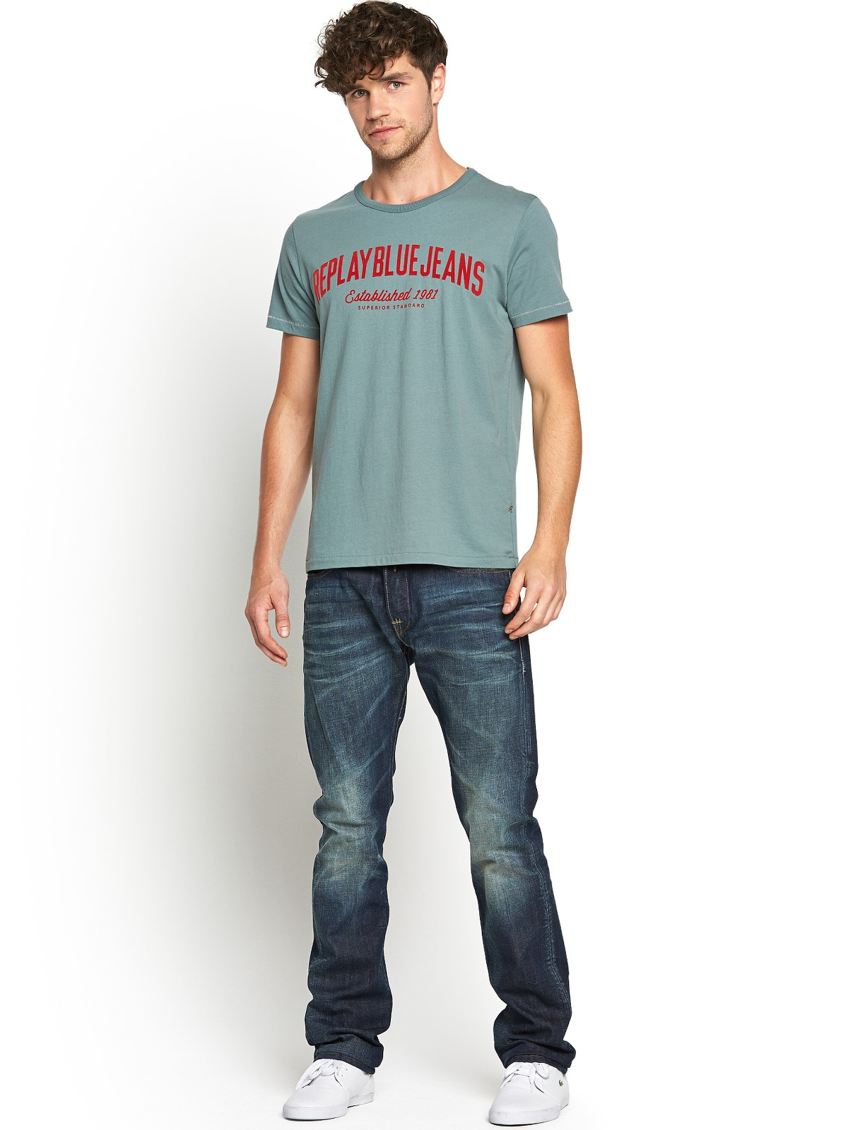 Replay mens blue jeans logo tshirt in green for men lyst for Mens jeans and dress shirt