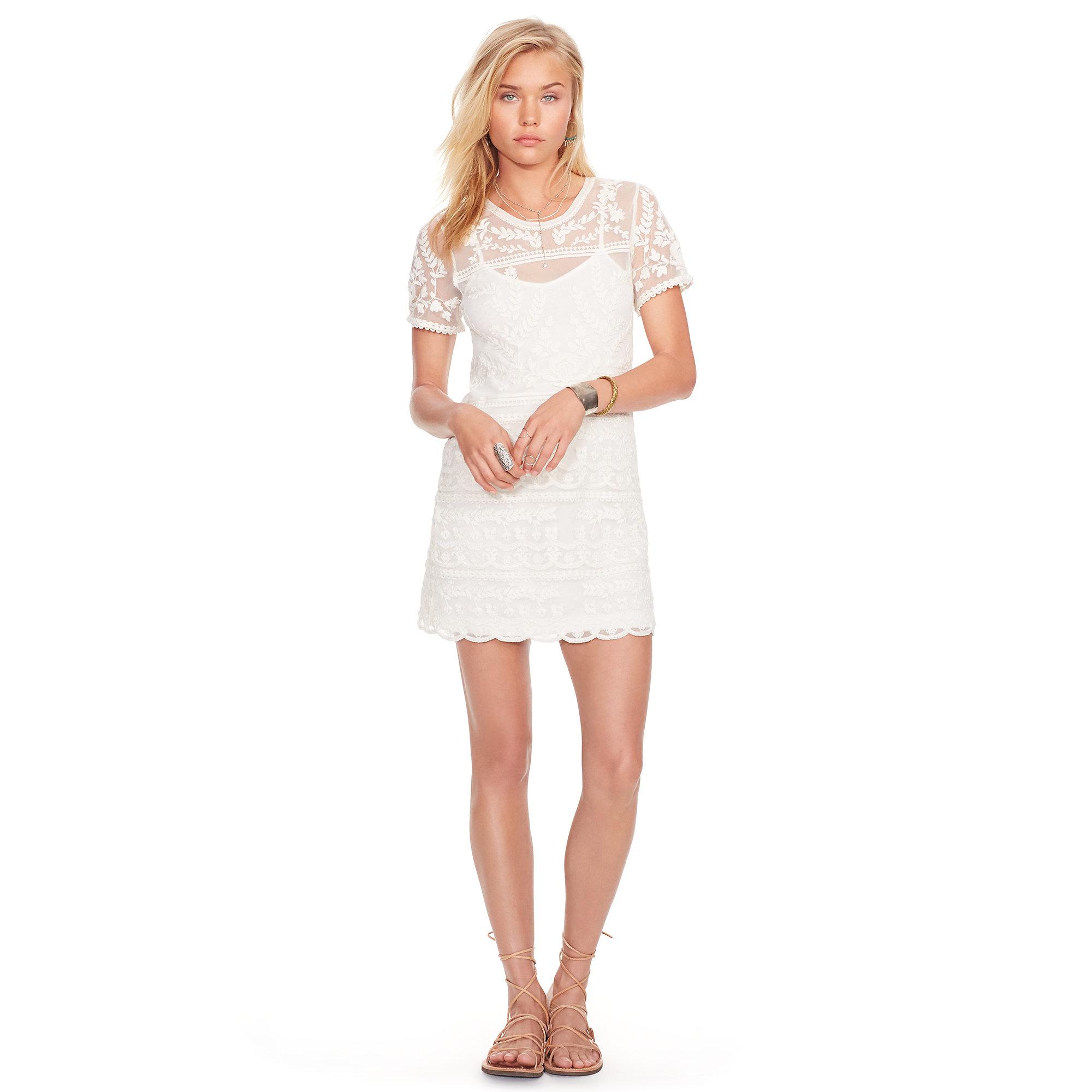 gute Qualitäts Damen Kleider - Antique Cream - Denim & Supply Ralph Lauren  Embroidered Tulle V-Back Dress Qualitätssicherung