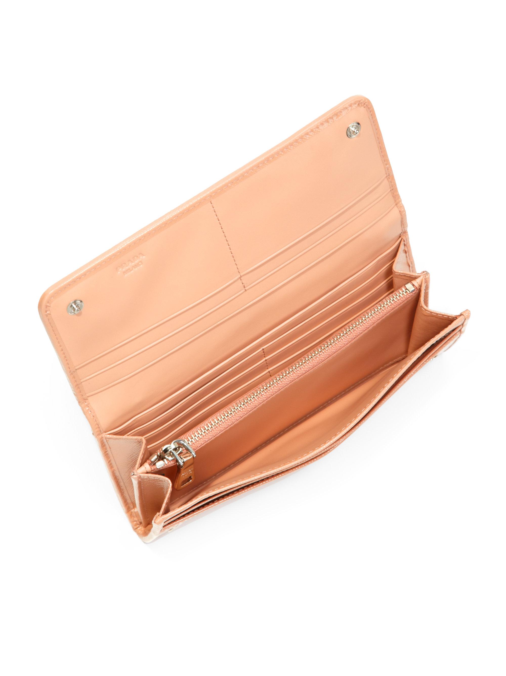 Prada Saffiano Studded Flap Wallet in Beige (CAMEL) | Lyst