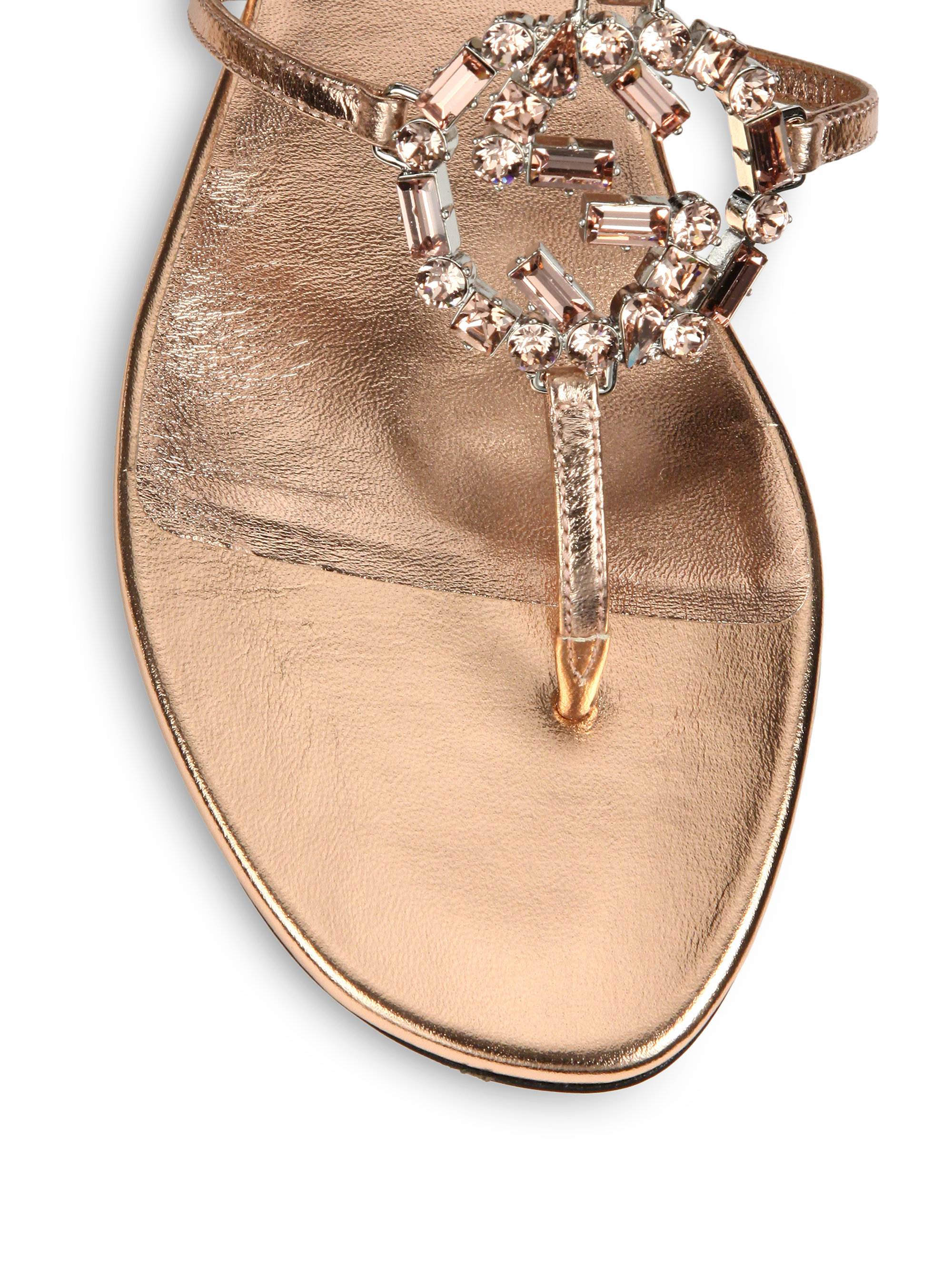 Lyst Gucci Gg Sparkling Crystal Amp Leather Sandals In Pink