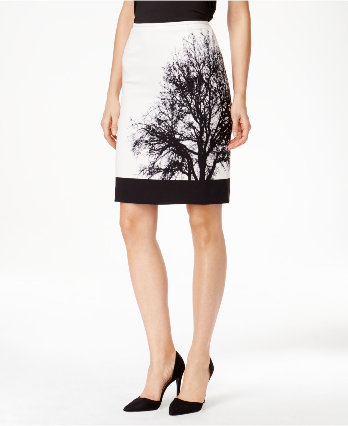 tahari forest print pencil skirt in white lyst