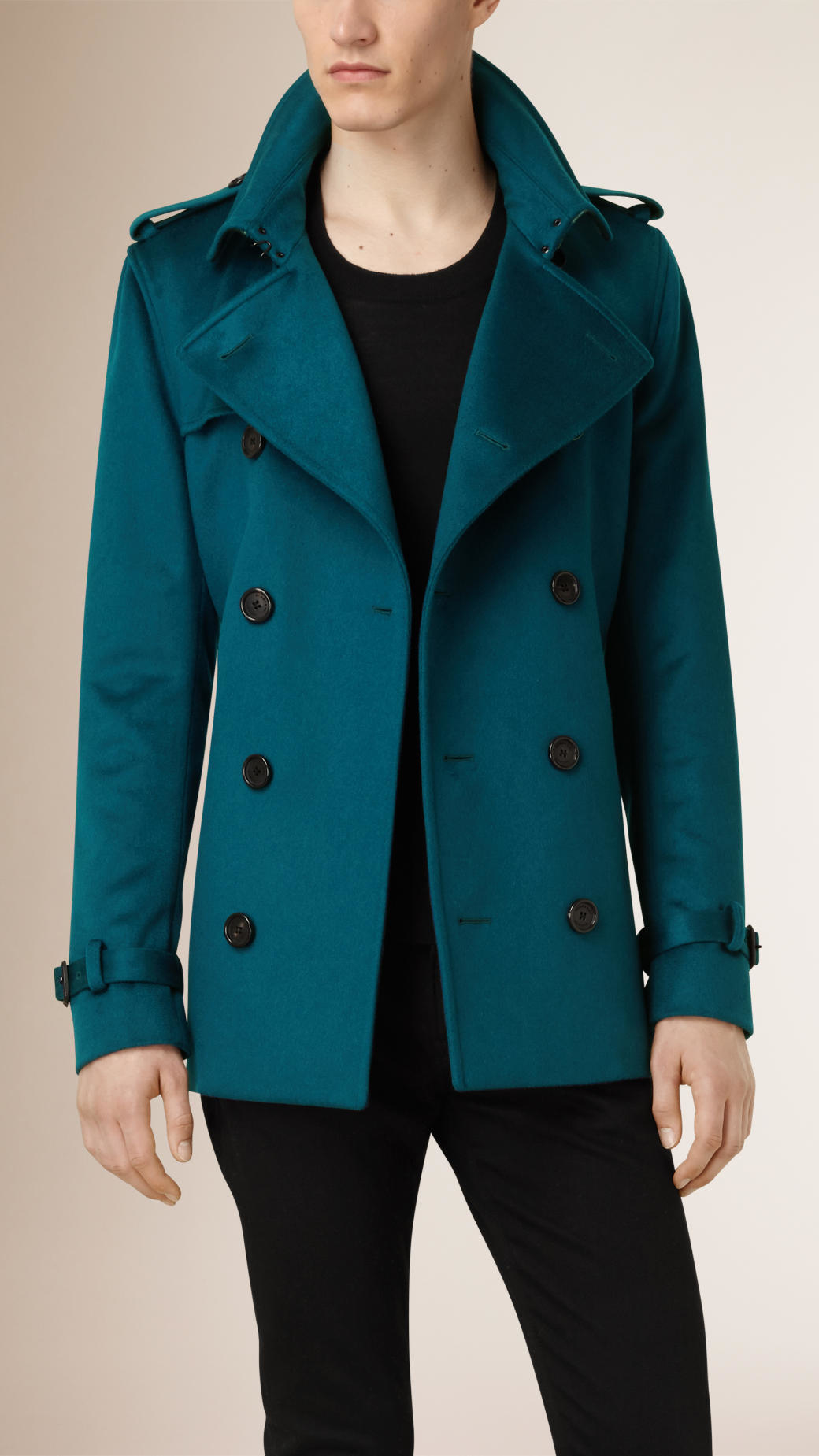 Burberry Kensington Fit Cashmere Trench Coat In Blue For