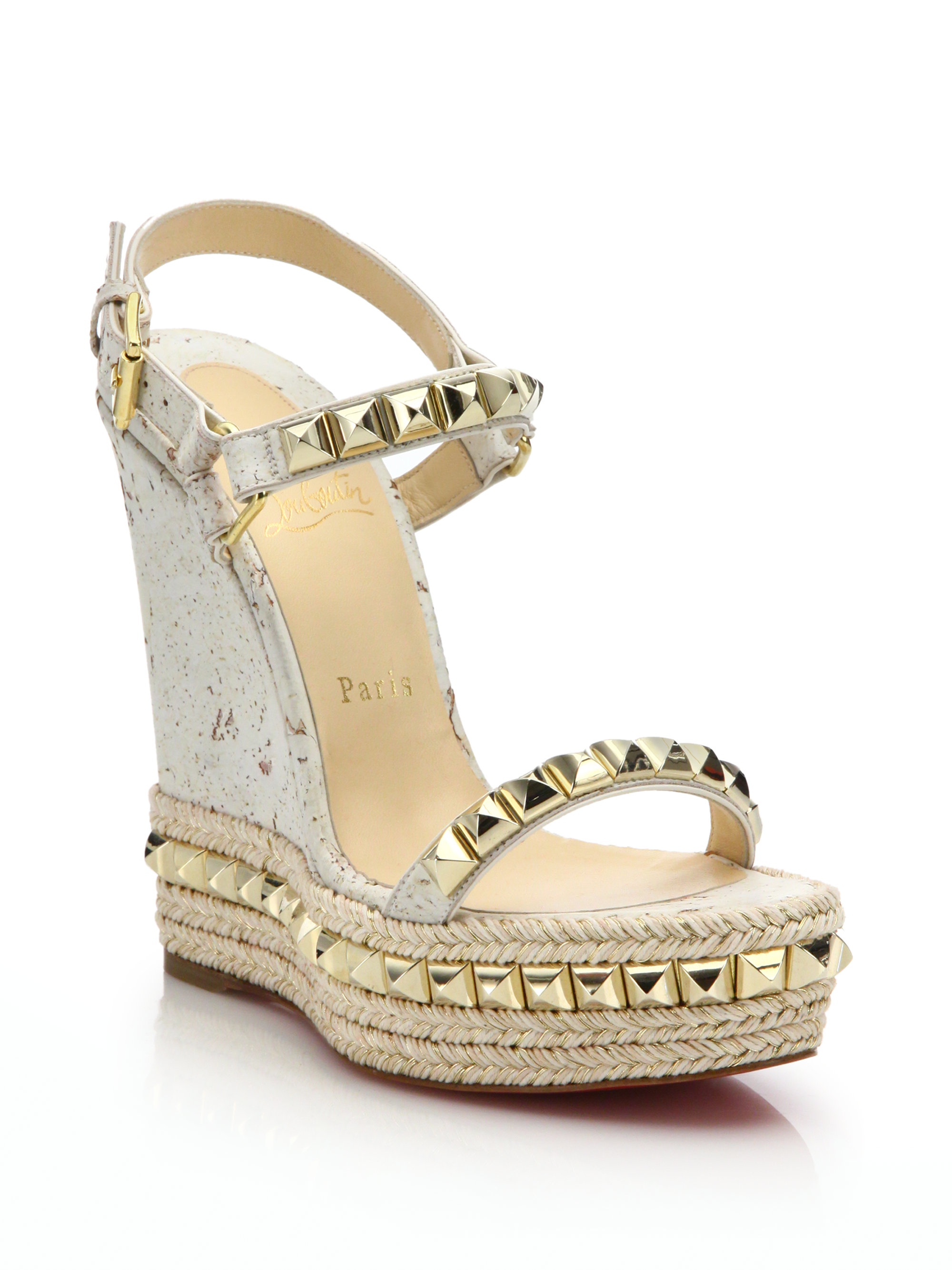 christian louboutin copy shoes - Christian louboutin Cork & Leather Platform Wedge Sandals in White ...