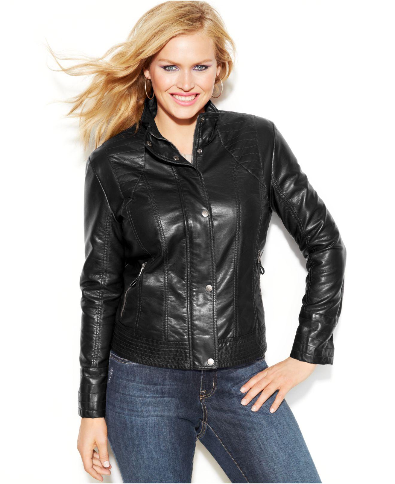 Plus size fake leather jackets