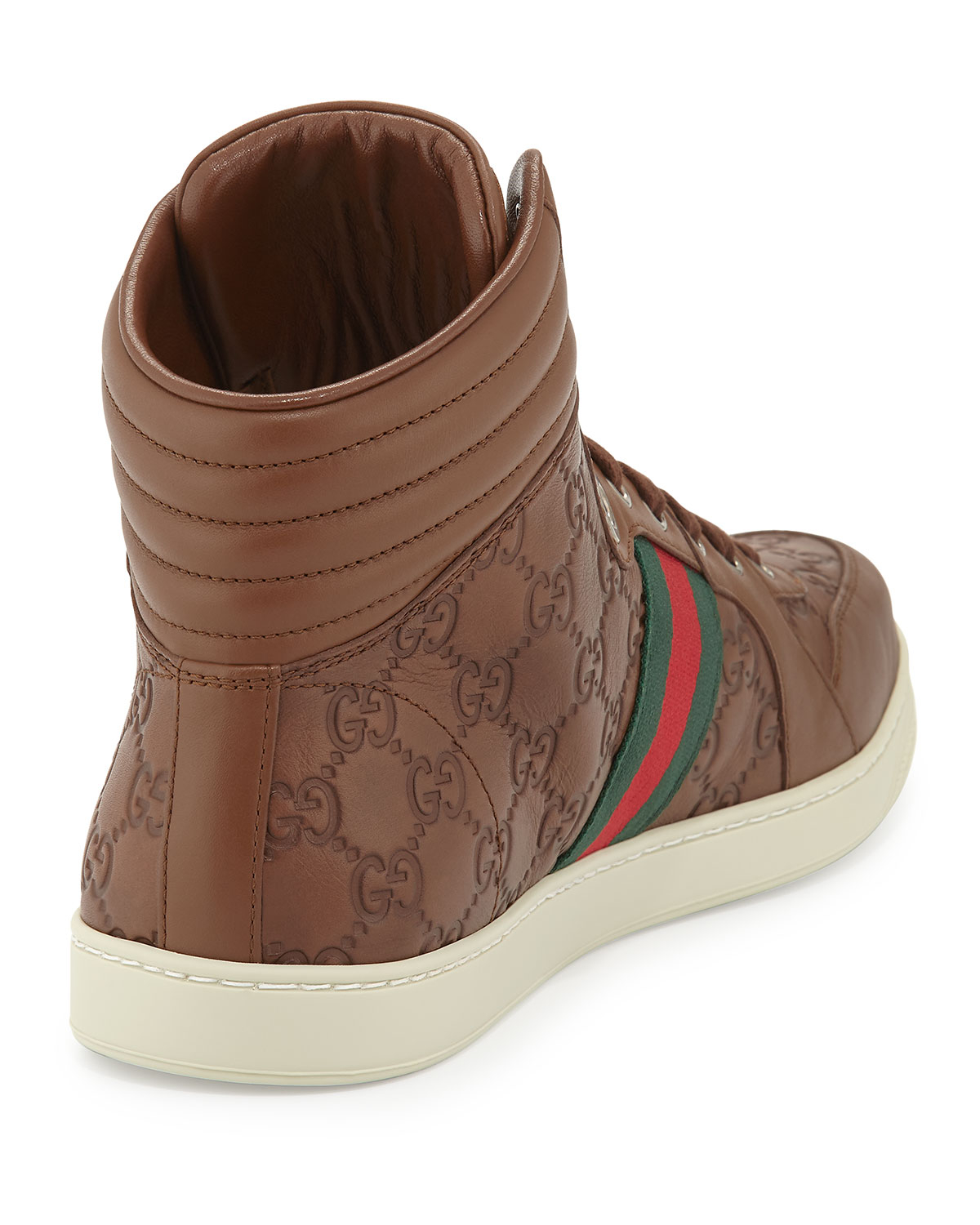 691261db2 Gucci Leather High-Top Sneakers in Brown for Men - Lyst