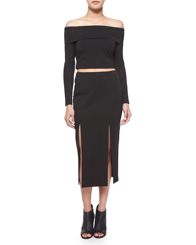 Nicholas Midi Pencil Skirt W/double-slit In Black