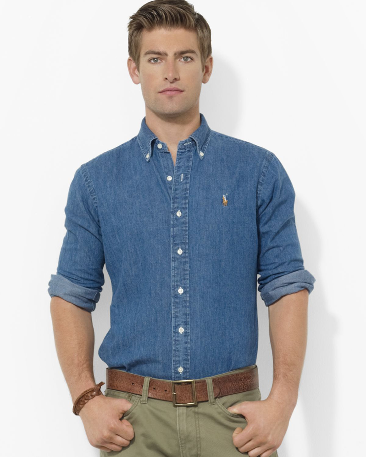 Lyst - Ralph Lauren Polo Denim Classic Button Down Shirt - Regular Fit in Blue for Men