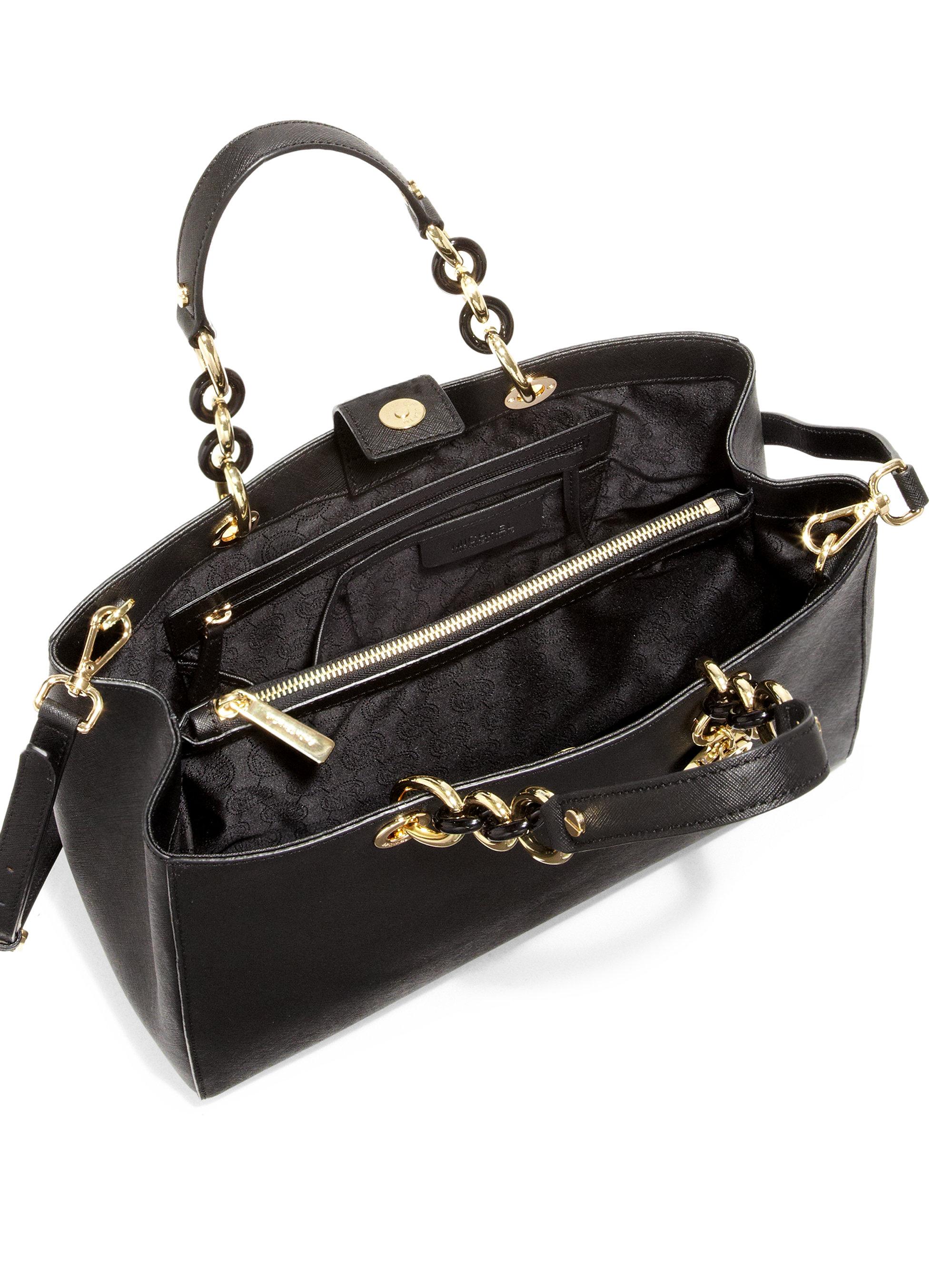 7f809d2f4452 ... low price lyst michael michael kors cynthia large satchel in black  96212 51000