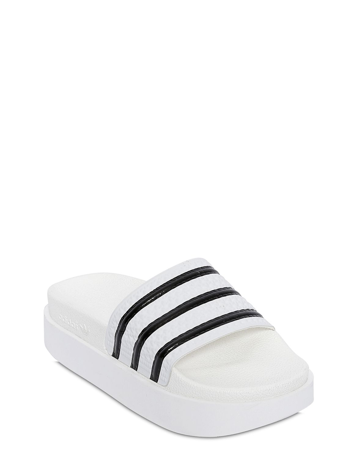 Adidas Originals Adilette Bold Rubber Slides In White Lyst