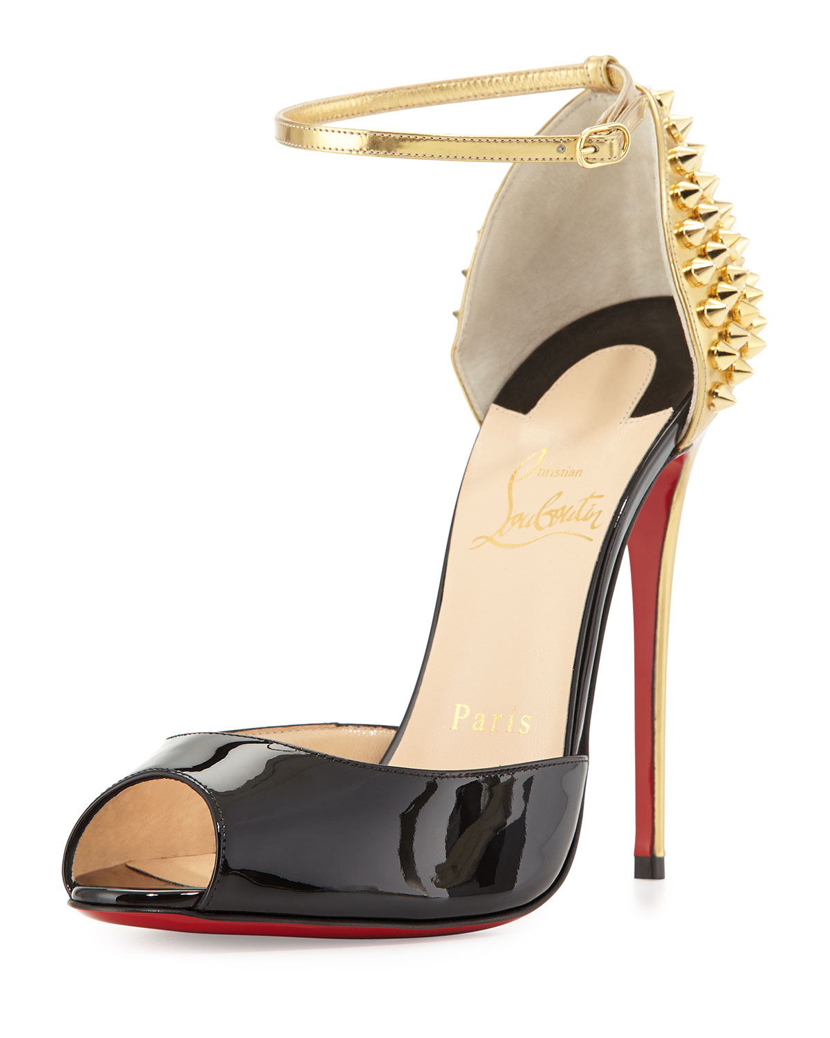 new arrival 56eee 09ceb christian louboutin baila spike leather red sole pump ...